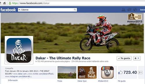 Laia Sanz portada Facebook Dakar 2013