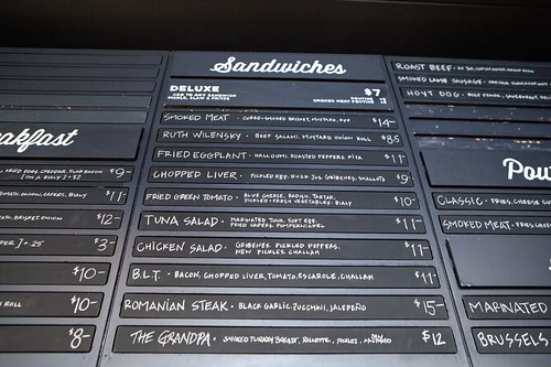 Part of the sandwich menu