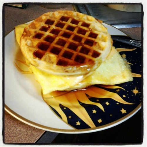 Bacon, egg and cheese sandwich. On waffles. With syrup. OMG.