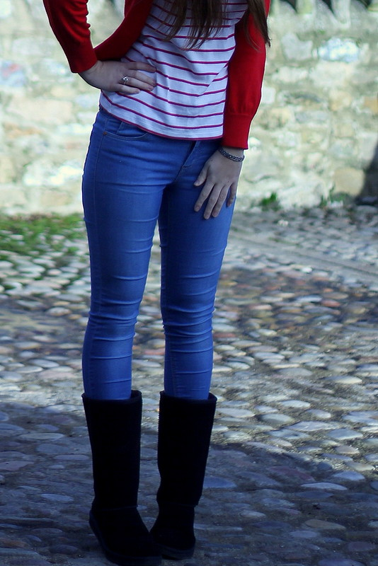 Red cardigan, Breton stripes top, Topshop jeans, black boots