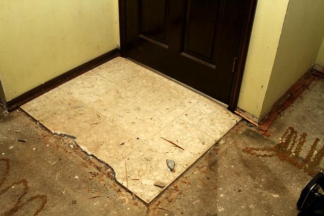 Old Tile infront of the door