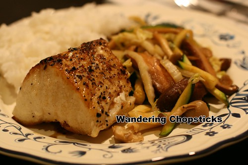 Sea Bass with Mushroom, Cabbage, and Zucchini Stir-Fry 1