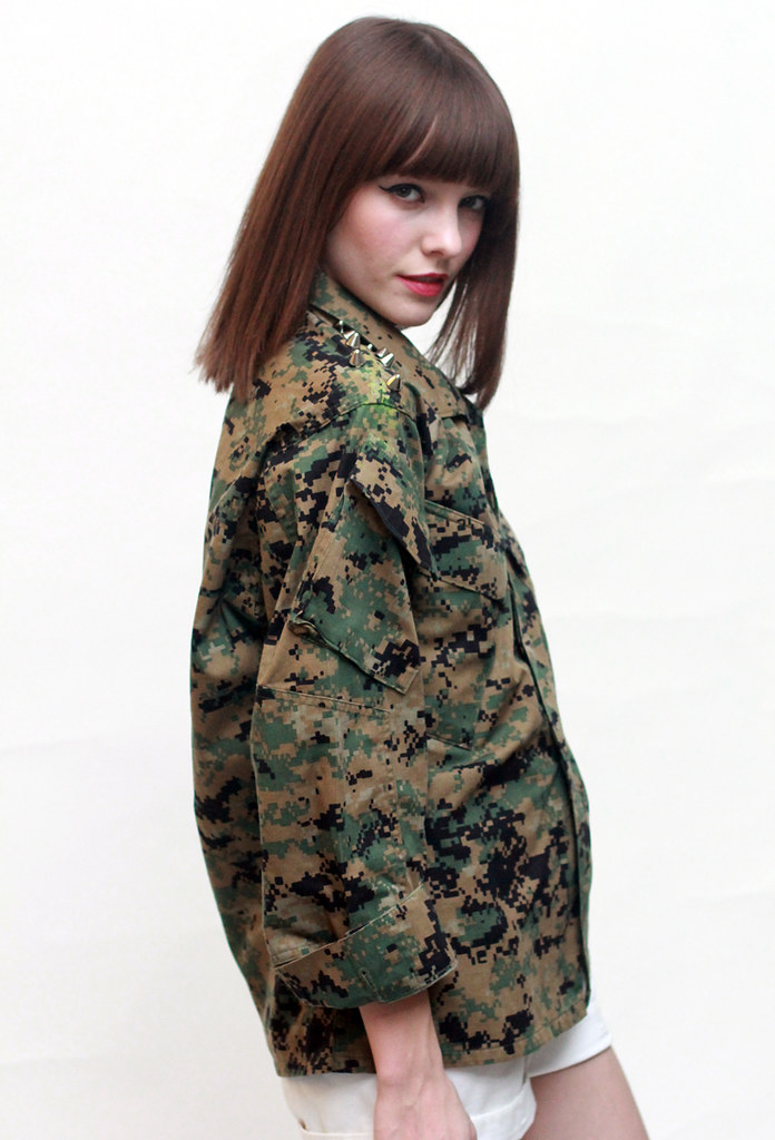 camo button up with spike studs on shoulders by Tarte Vintage at shoptarte.com