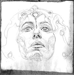 Beginning #sketch for Mystik Mask 617 :: with a help of great #photography by Ben Staley @staley :: #esoteric #mystic #art #drawing of a #face #mask to reach #realms known only to the #heart