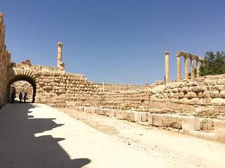 Image of Jerash hippodrome near Jarash. jordan middleeast city urban arabic jerash gerasa roman ruins stone