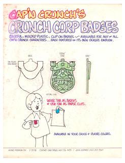 Vintage 1980 Quaker / Hasbro Cap'n Crunch Cereal Box Premium Concept Production Art Corp. Badge