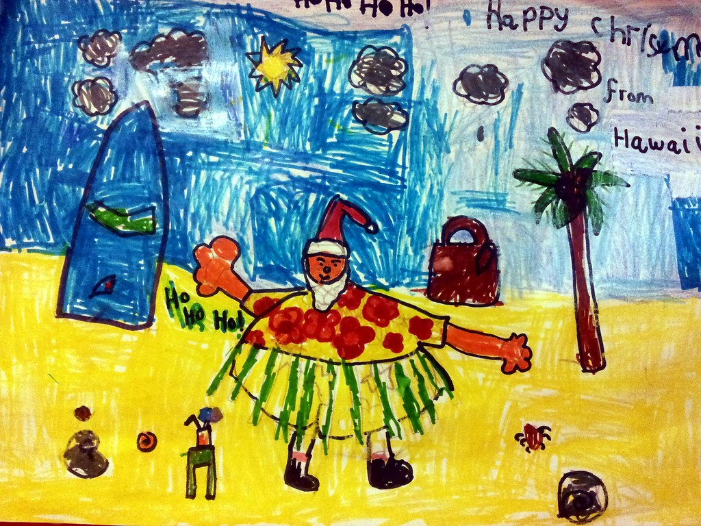 , Postcards from Santa:  Rebecca's entry:  Santa in Hawaii!