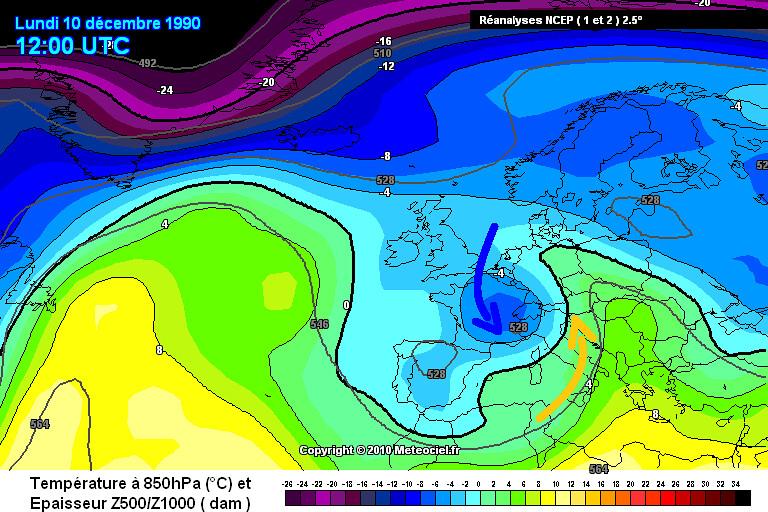 carte de masses d'air durant l'épisode de neige de décembre 1990 dans le Centre-Est météopassion