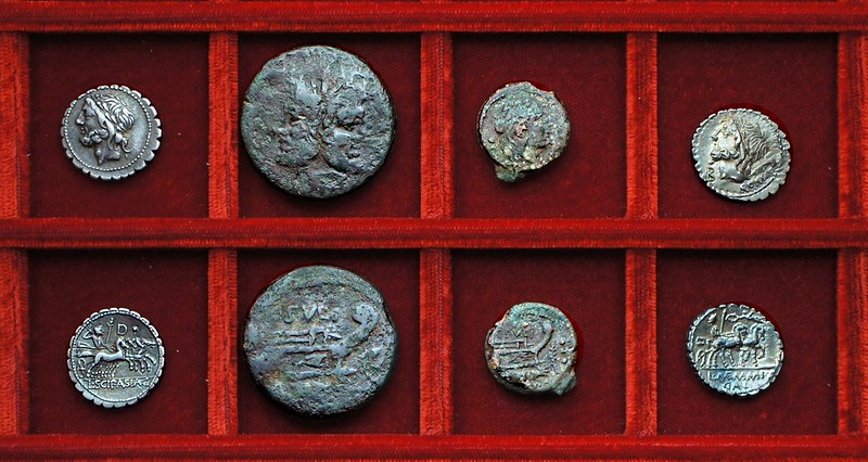 RRC 311 L.SCIP ASIAG Cornelia, RRC 312 C.SVLPI palm-branch Sulpicia bronzes, RRC 313 L.MEMMI GAL Memmia, Ahala collection, coins of the Roman Republic