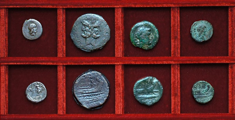 RRC 340 L.PISO FRVGI Calpurnia quinarius, bronzes, Ahala collection, coins of the Roman Republic