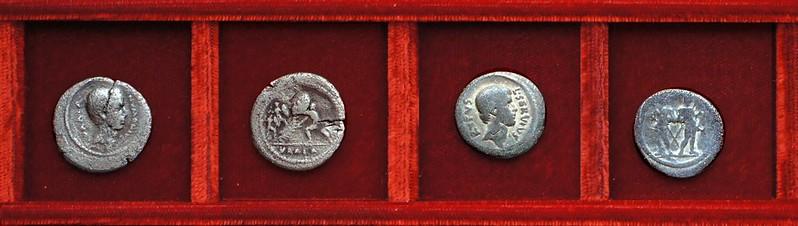 RRC 514 C.NVMONIVS VAALA Numonia, Julius Caesar, RRC 515 L.SERVIVS RVFVS Sulpicia, Brutus, RRC 516 M.ANTONIVS Mark Antony, Ahala collection Roman Republic