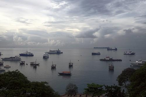 sunset sea sky clouds tanzania harbor mare porto zanzibar stonetowne