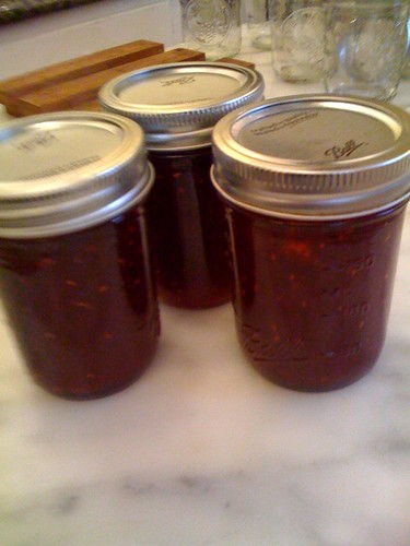 3 bottles of raspberry jam
