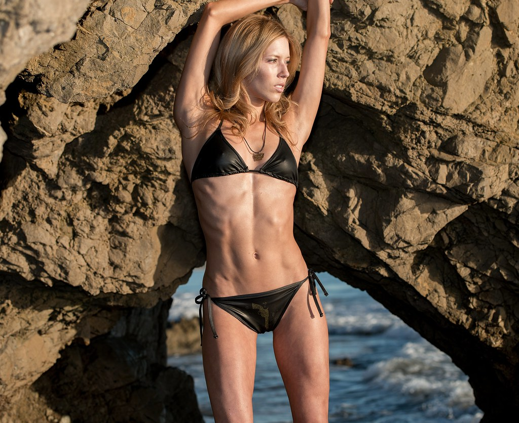 Blonde bikini fitness model