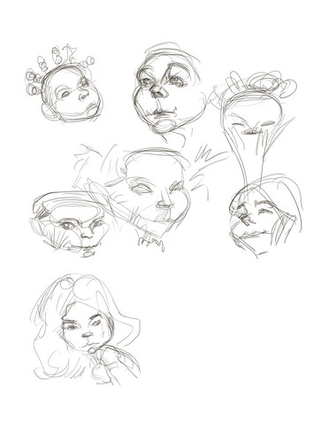 digital thumbnail caricature sketches of Bjork