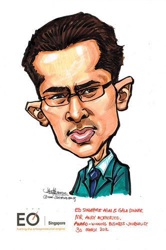 Mr Andy Mukherjee caricature for EO Singapore
