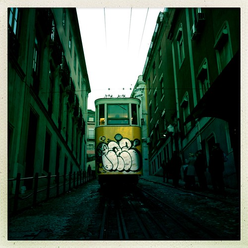 Typical tram in Lisbon by Davide Restivo