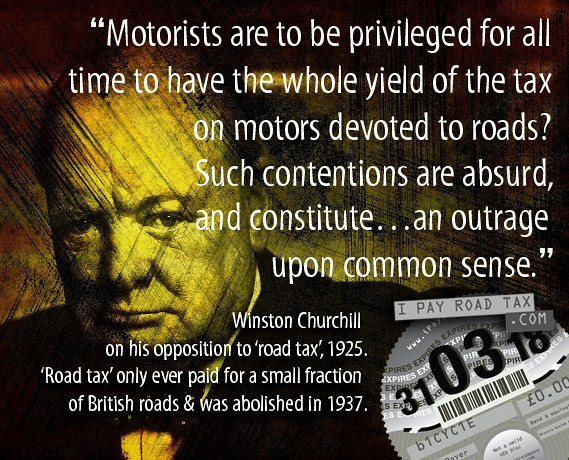 Winston Churchill 1925 opposition to 'road tax'