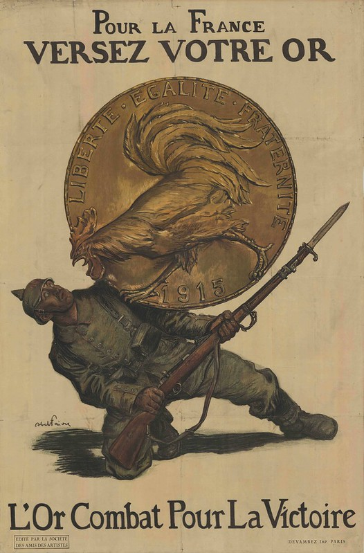 amusing illustration of cowering German soldier with absurd rooster trying to break out of huge gold medallion to peck him