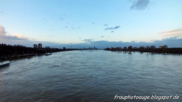 Köln Panorama bei Hochwasser