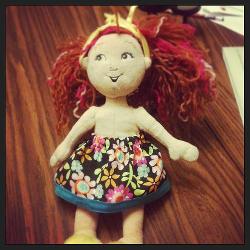 Homemade doll skirt - Josie's first time at the machine. We did this together. Garment construction is good for brain! And useful when you have girls.