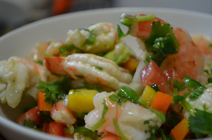 bowl of shrimp salad