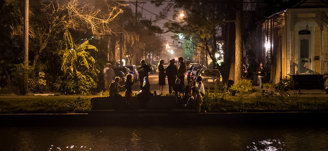 Revelers on the bayou
