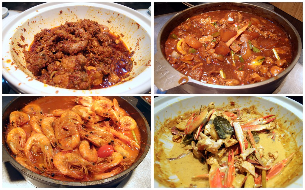 1 Market. From left: Chicken Belado, Lamb Stew, Thai Prawn, Turmeric Crab