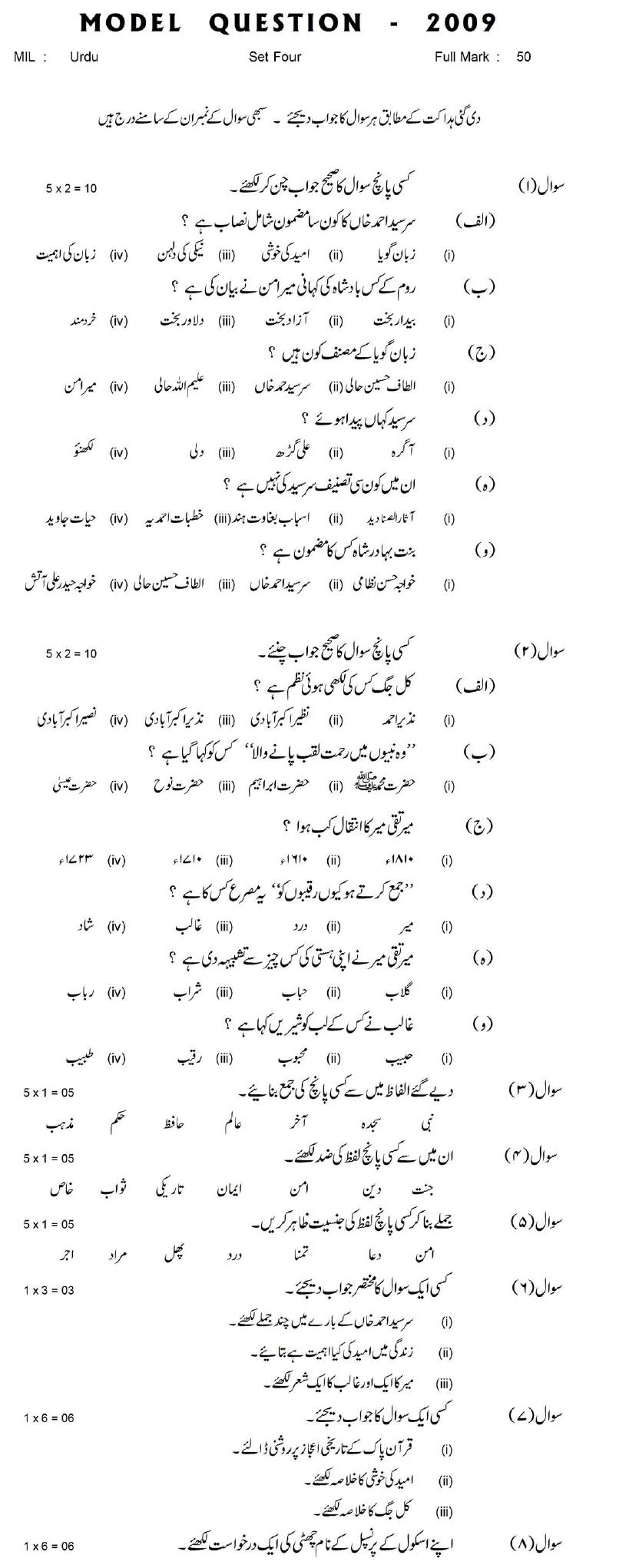 Bihar Board Class XI Humanities Model Question Papers - Urdu