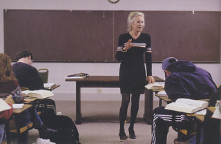 Professor Martha Andresen leading her Shakespeare class in a photo from the spring 2000 issue of Pomona College Magazine
