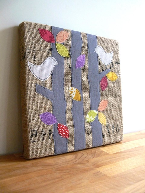 Handmade for Newtown: burlap art by Jenny Bartoy