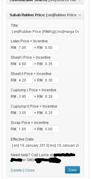 Sabah rubber price widget