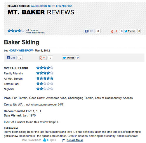 MT BAKER REVIEW