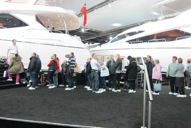 Boat show - visitors in slippers