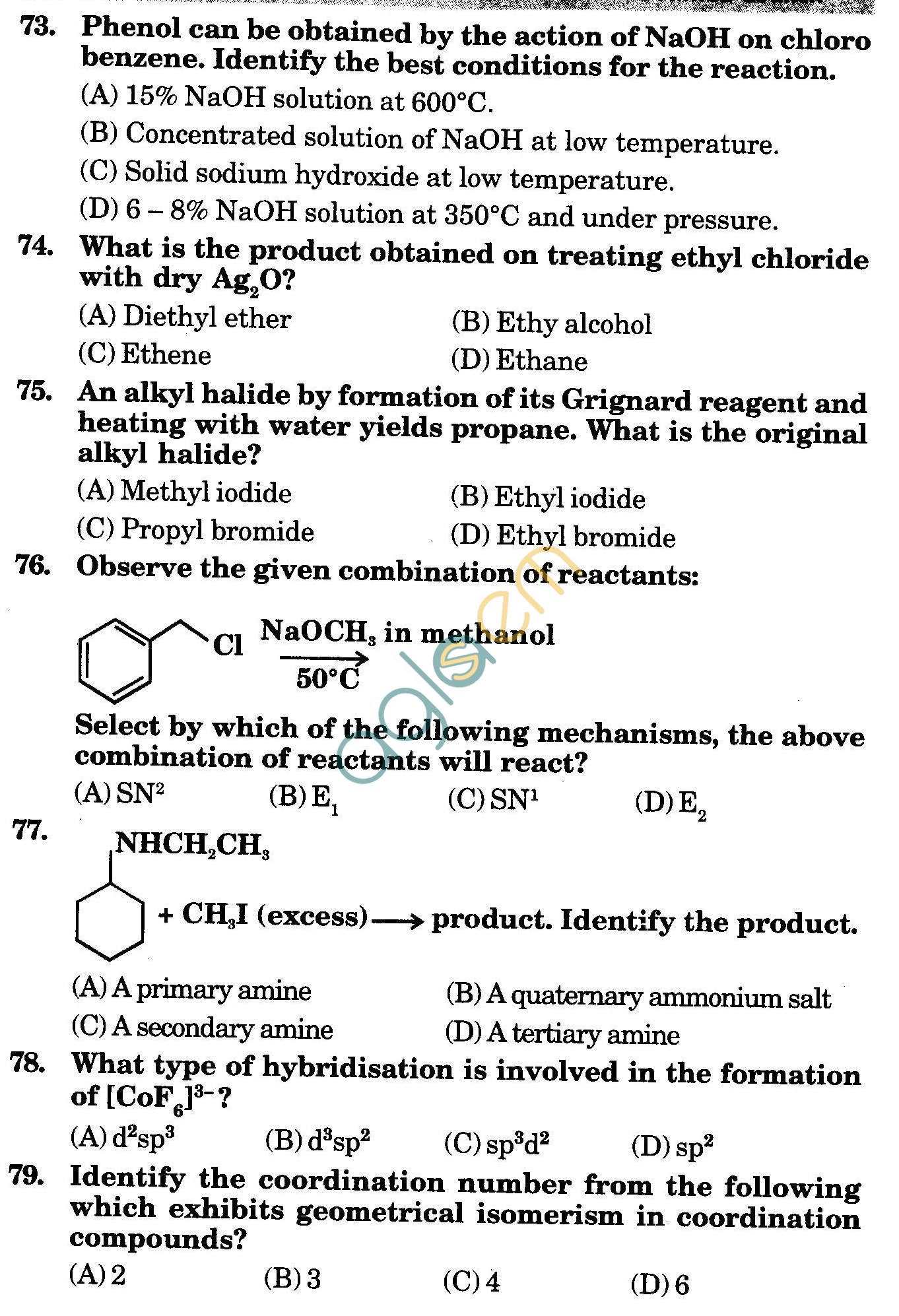 NSTSE 2010 Class XII PCM Question Paper with Answers - Chemistry