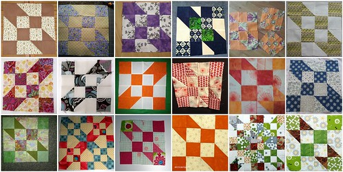 Road To Oklahoma blocks created from AmysCreativeSide's Tutorial for the 'My Favorite Block' Quilt Along