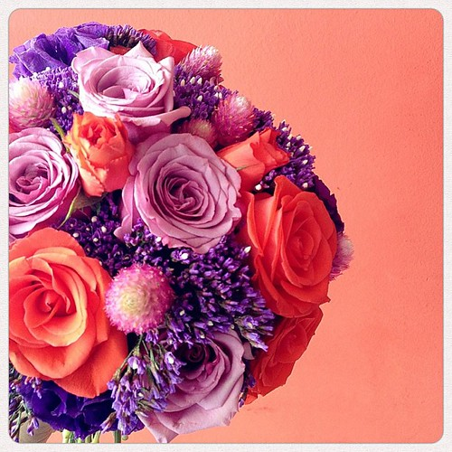 Hand bouquet for Eleena. I love clients who are willing to take risks with bold & unconventional color & flower combos!