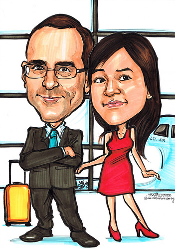 Couple caricatures at airport
