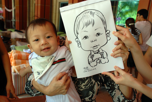 caricature live sketching for Mark Lee's daughter birthday party - 1