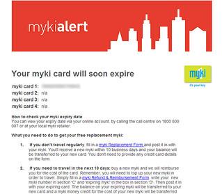 Myki expiry email