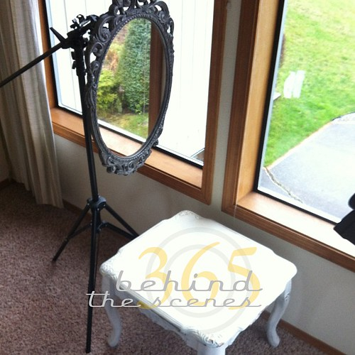 Behind the scenes of today's 365 shot... front room windows (to keep out of the rain), side table & a makeshift mirror stand
