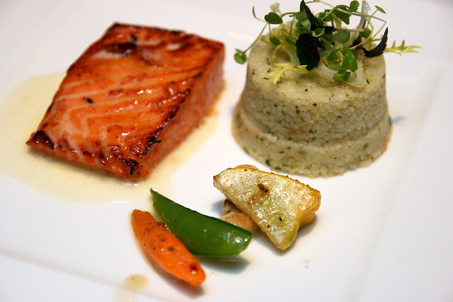 Degustation portion: King Salmon with Mandarin-Habanero Glaze, Meyer Lemon Cous Cous & Hot House Cilantro