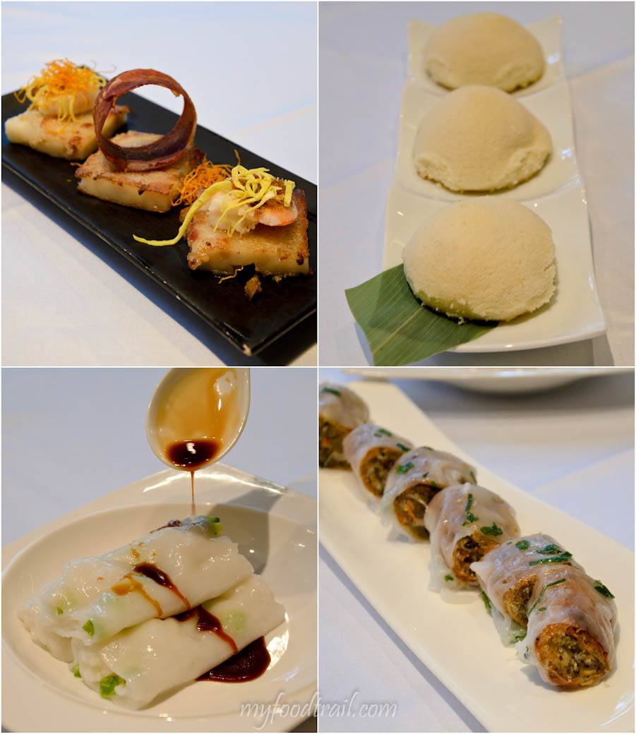 Cuisine Cuisine, The Mira, Hong Kong - Radish cake, polo buns, crispy rice rolls with vermicelli, steamed rice rolls with scallops