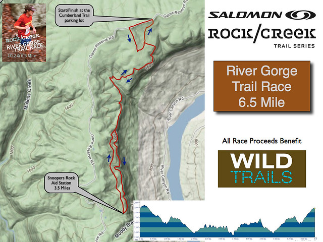 Rock/Creek River Gorge Trail Race -  6.5 mile course map