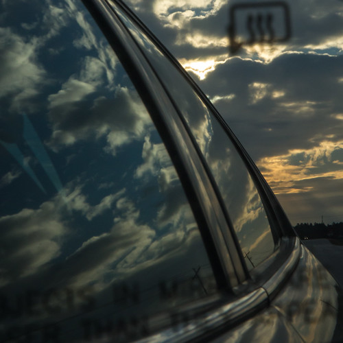 sunset reflection window car clouds mirror automobile rearviewmirror