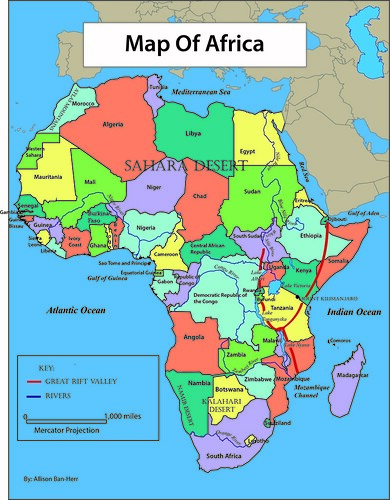 Africa Reference Map Banheraa - Africa map great rift valley