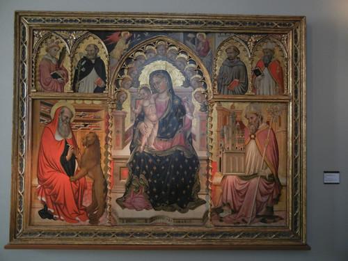 DSCN3299 _ Madonna in trono col bambino fra i Santi Girolamo e Petronio, [In alto] l'Annunciazione fra i santi Stefano, Domenico, Francesco e Agostino, Lianori Pietro, 1453