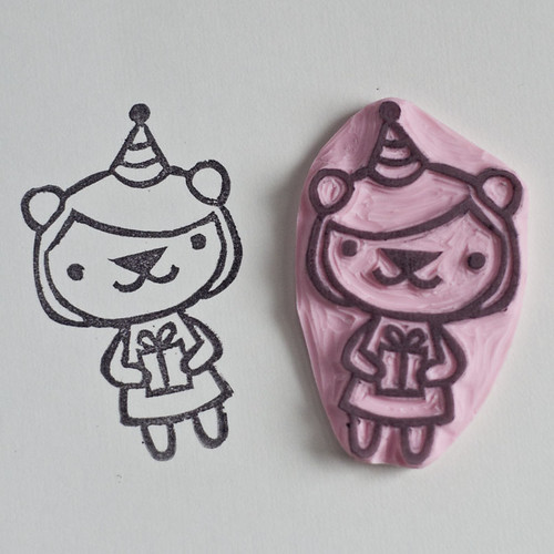 Party Bear Hand Carved Stamp