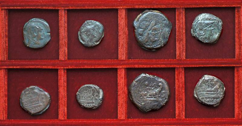 RRC 142 bull and MD Durmia bronzes, RRC 143 shield and MAE Maenia bronzes, Ahala collection, coins of the Roman Republic