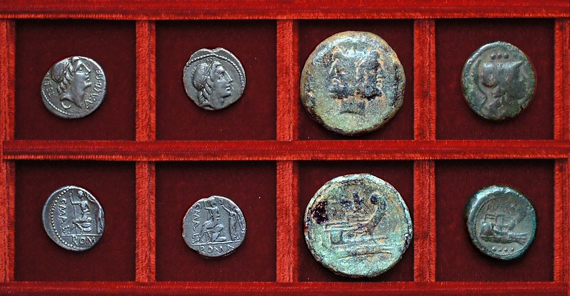 RRC 335 L.METEL C.MALL A.ALB Caecilia Mallia Postumia denarii, RRC 335 mallet Postumia bronzes, Ahala collection, coins of the Roman Republic